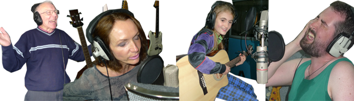a collage of all age groups enjoying a recording studio gift experience at royal mile recording experiences